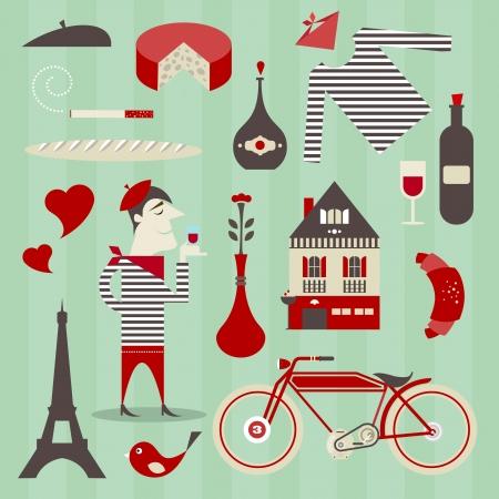 Satz von verschiedenen Symbole über Frankreich