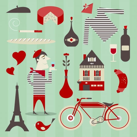 set of various icons about France Vector