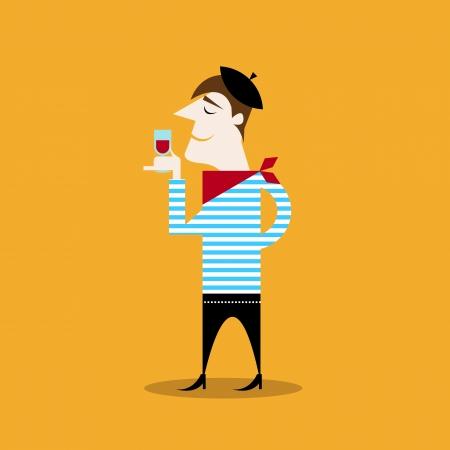 estereotipo: ilustración estereotipo de un hombre francés