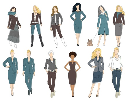 business cloth: illustration of office ladies
