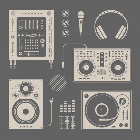 earbud: Vector conjunto de varios iconos estilizados dj Vectores
