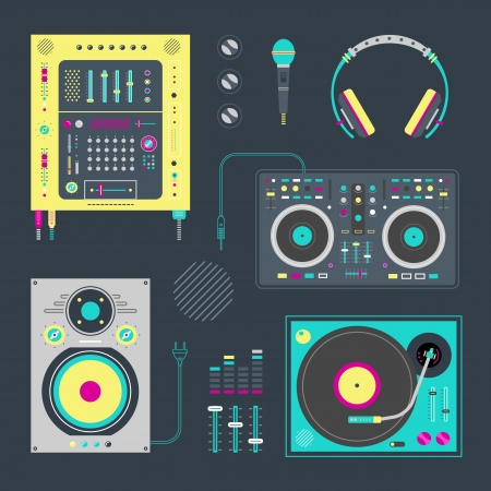 set of various stylized dj icons Vector