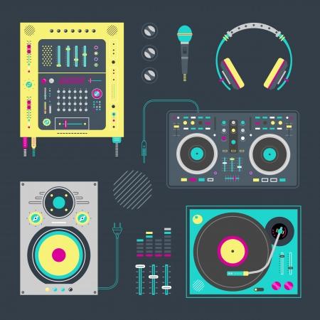 equipo de sonido: Vector conjunto de varios iconos estilizados dj Vectores