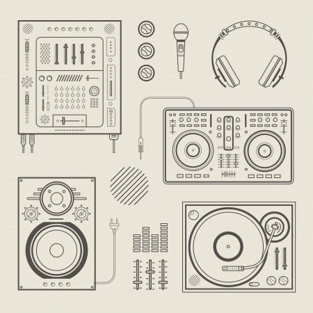 microfono radio: conjunto de varios iconos estilizados dj Vectores