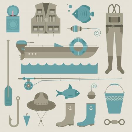 conjunto de varios iconos estilizados para la pesca