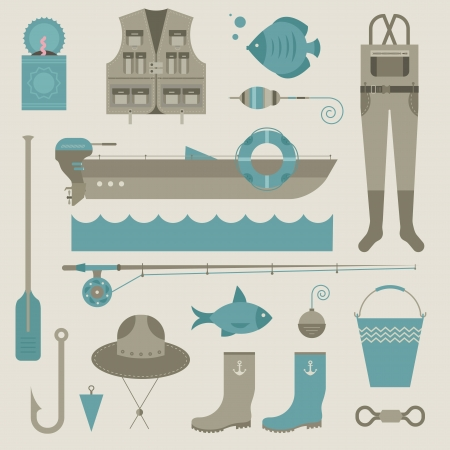 set of various stylized icons for fishing