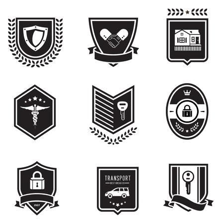 set of insurance badges Vector