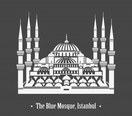 silhouette of The Blue Mosque, Istanbul Vector