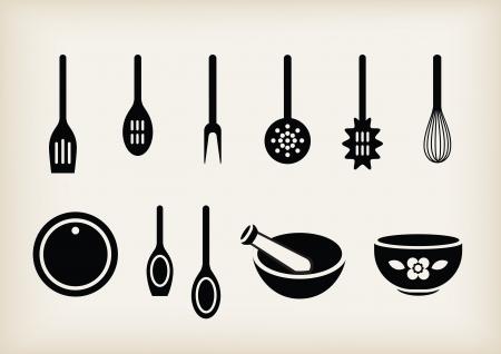 kitchen tools: set van keuken hulp middelen