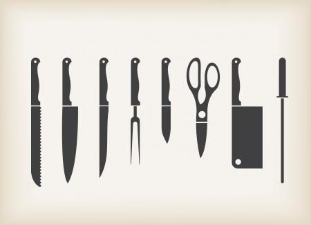 Icons von Küchenmesser stilisierte Satz