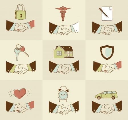 set of doodle Handshake insurance icons Vector