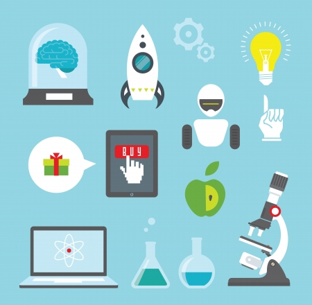 set of icons for innovation and science Illustration