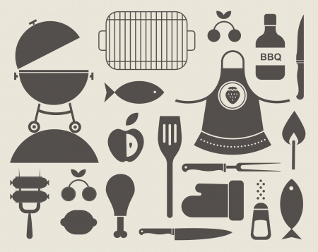charcoal grill: set of various food barbecue icons
