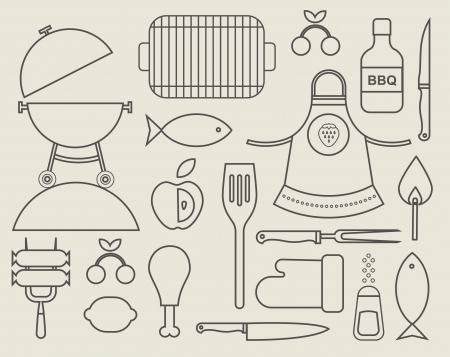 set of various food barbecue icons Vector