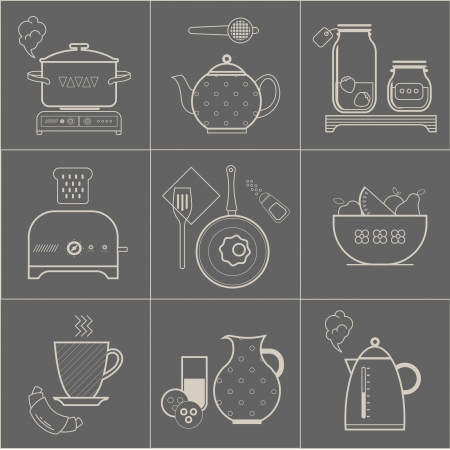 icon, food, breakfast, vintage, illustration, pot, stove, cook, pot, tea, teapot, polka, dot, french, cup, hot, coffee, toast, bread, toaster, retro, jar, glass, jam, strawberry, pen, frying, pepper, can, fruit, watermelon, melon, apple, milk, cookie, bak Vector