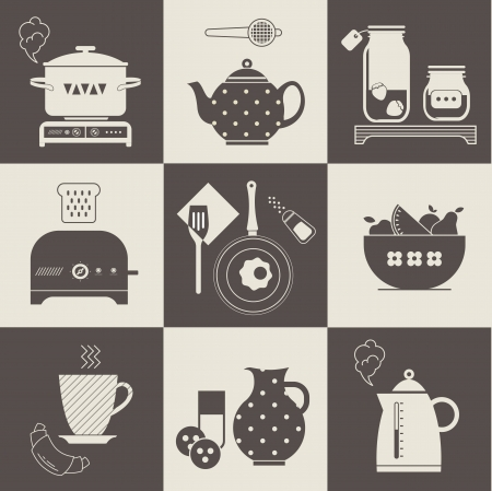 set of breakfast food and devices icons Vector