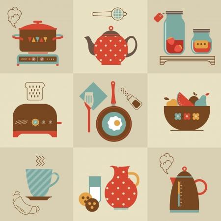 아침 식사 음식 및 장치 아이콘을 설정 일러스트