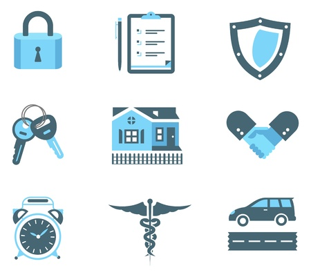 security lock: set of insurance icons