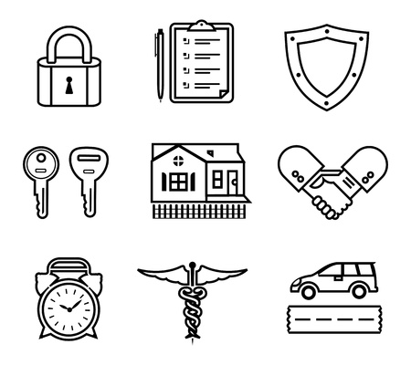 a set of various insurance icons Vector
