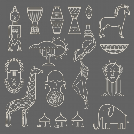 set of stylized African icons Vector