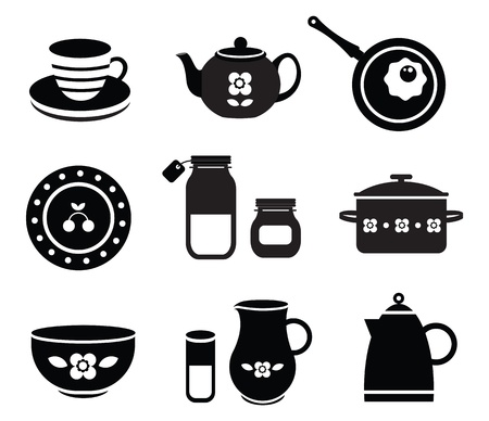 set of various kitchen tools Vector
