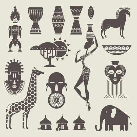 baobab: set of stylized African icons Illustration