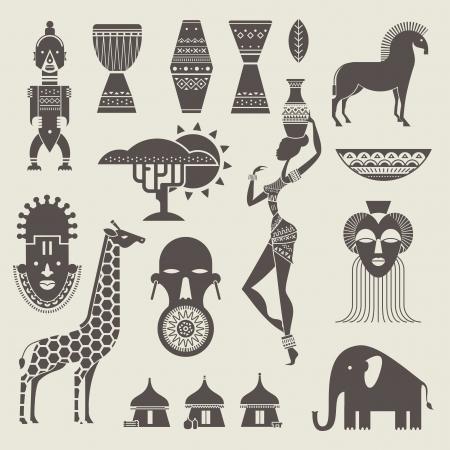 fille arabe: Vector set d'icônes stylisées africains