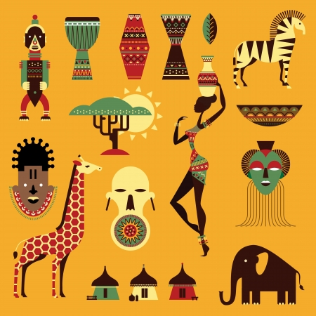 set of stylized african icons 向量圖像