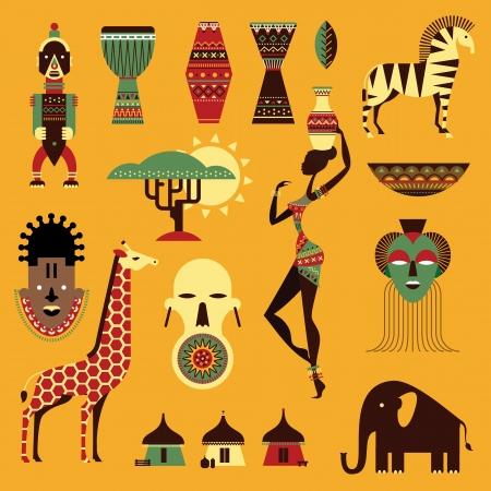 Vector set van gestileerde Afrikaanse iconen