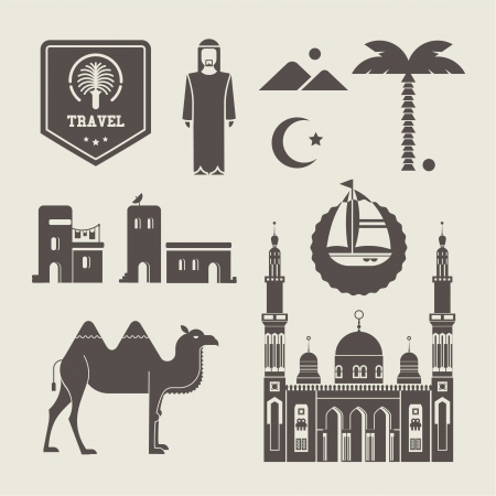 man on the moon: set of various stylized Arabic icons