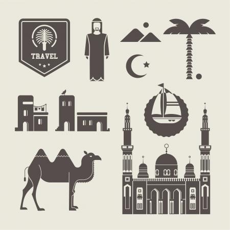 hombre arabe: Vector conjunto de varios iconos árabes estilizadas Vectores
