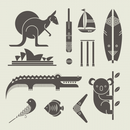 set of various stylized australia icons Çizim