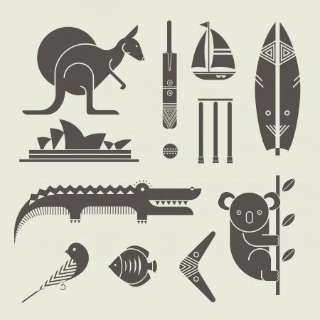 koala: Vector conjunto de varios iconos estilizados australia