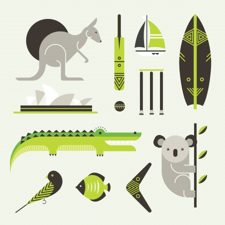 alligator: set of various stylized australia icons Illustration