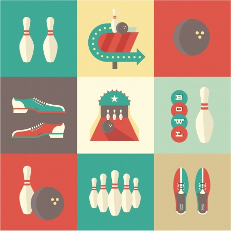 vintage bowling icons