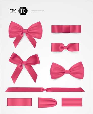 and pink ribbon: bow collection Illustration