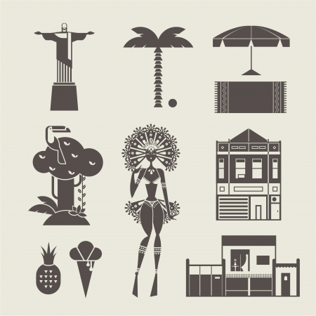 brazil beach swimsuit: set of various stylized brazilian icons
