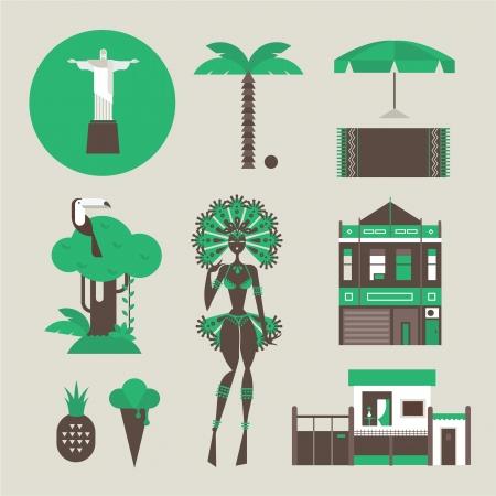 amazon: set of various stylized brazilian icons