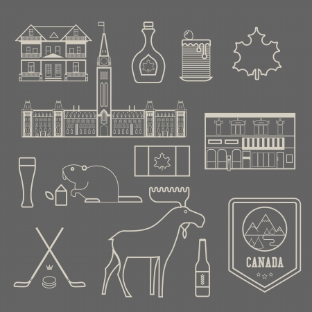 maple syrup: set of various stylized canada icons