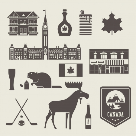 set of various stylized canada icons Vector