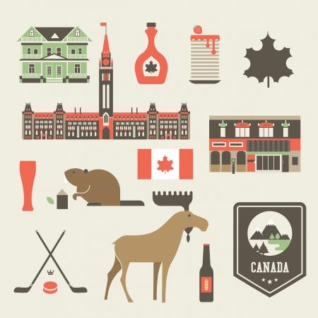 conjunto de varios iconos estilizados canadá Ilustración de vector