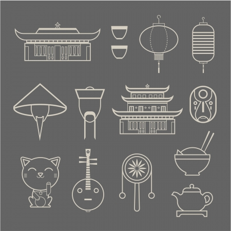 chinese drum: set of stylized Chinese travel icons