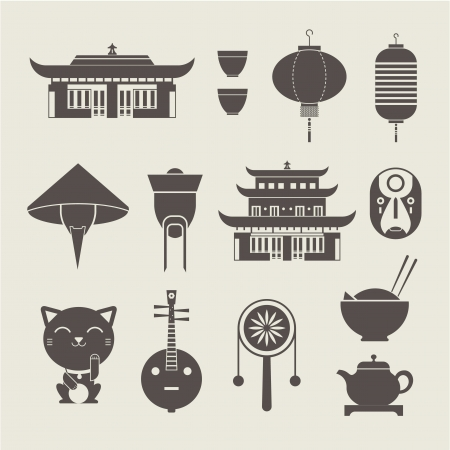 chinese traditional house: set of stylized Chinese travel icons