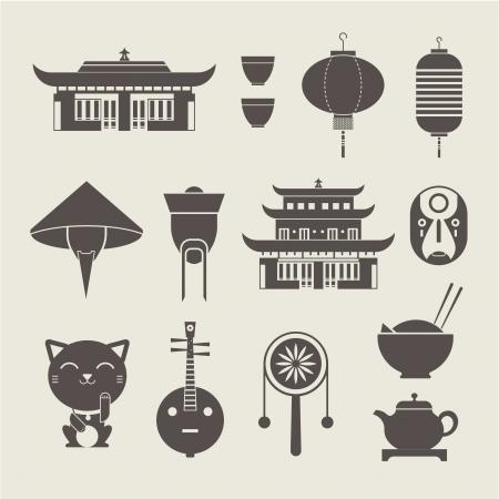 chinese tea cup: Vector conjunto de iconos de viaje chinos estilizados