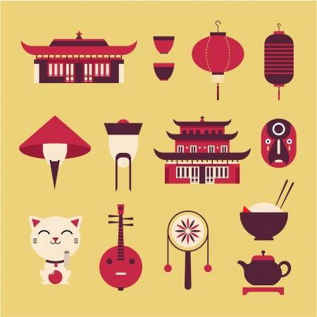 日本料理: 様式化された中国旅行のアイコンを設定