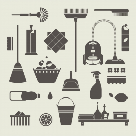 set of stylized cleaning tools icons Vector