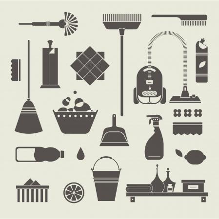 Vektor-Set von stilisierten Icons Reinigung von Werkzeugen Vektorgrafik