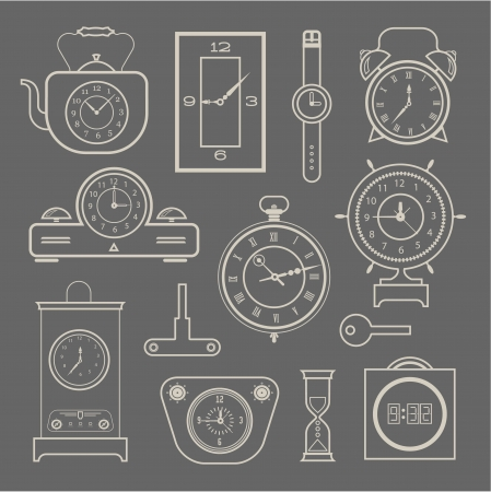 object with face: clock icons set