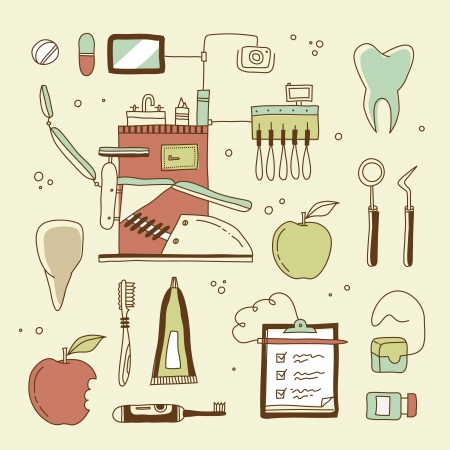 stomatology icon: set of dentist icons and teeth care