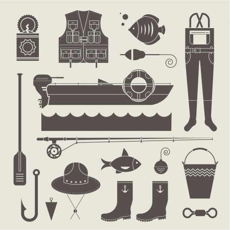 motor boat: set of various stylized icons for fishing